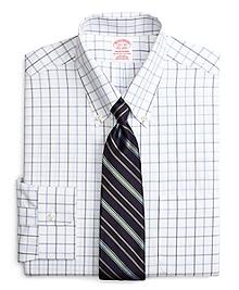 Non-Iron Traditional Fit Alternating Windowpane Dress Shirt