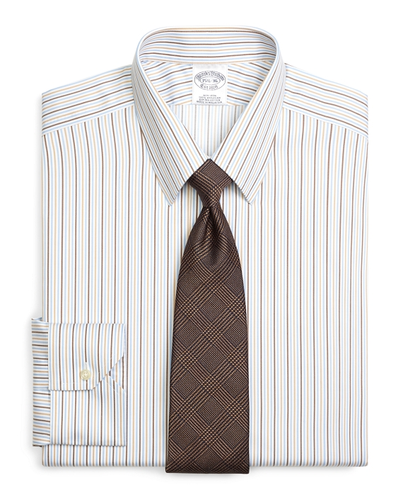 Regent Regular-Fit Dress Shirt, Non-Iron Tonal Stripe Brown