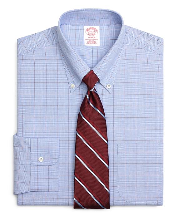 Madison Classic-Fit Dress Shirt, Non-Iron Glen Plaid Blue