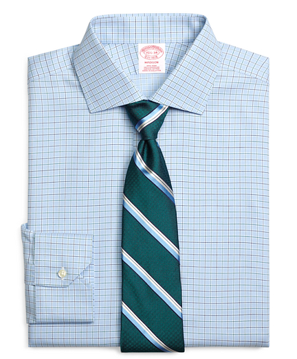 Madison Relaxed-Fit Dress Shirt, Non-Iron Alternating Check