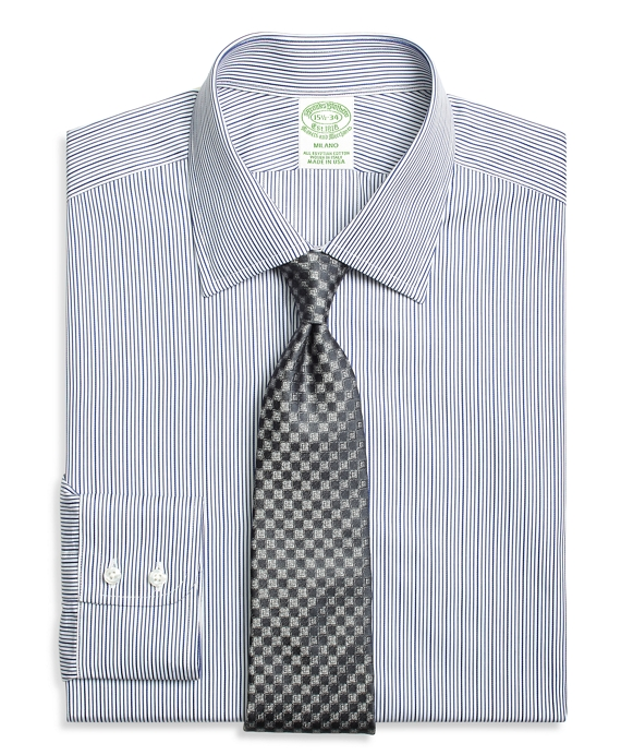 Milano Slim-Fit Dress Shirt, Rope Stripe Blue