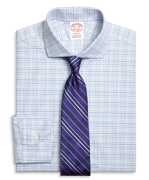 Madison Classic-Fit Dress Shirt, Triple Check Blue