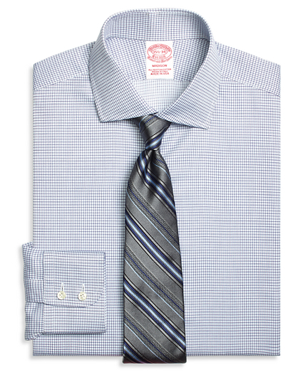 Madison Relaxed-Fit Dress Shirt, Textured Micro Check