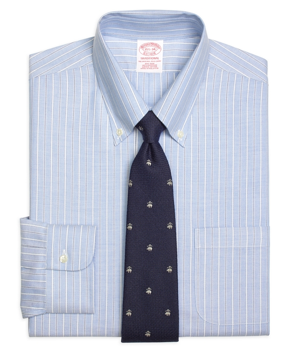 Non-Iron Traditional Fit BrooksCool® Alternating Ground Stripe Dress Shirt Light Blue