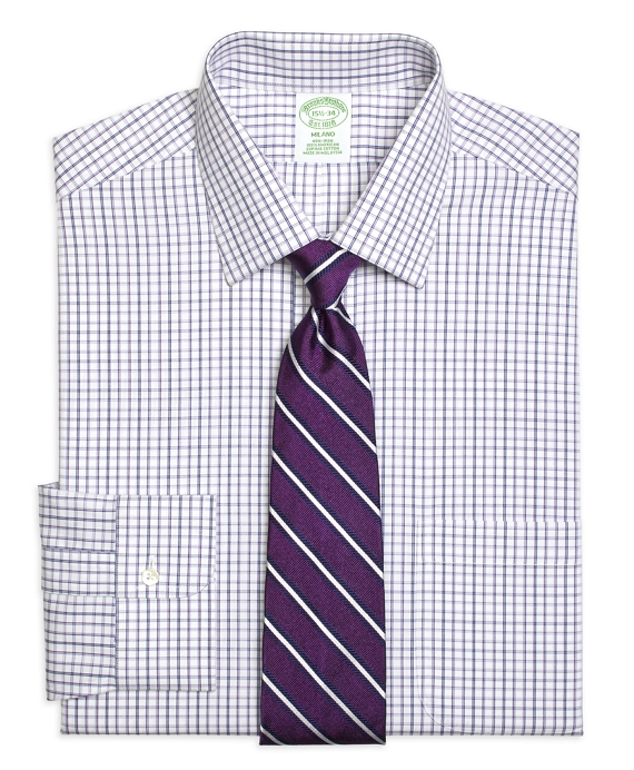 Milano Slim-Fit Dress Shirt, Non-Iron Triple Twin Check Purple