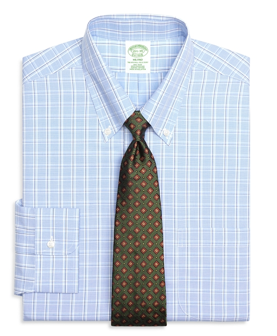 Milano Slim-Fit Dress Shirt, Non-Iron Alternating Twin Check Light Blue