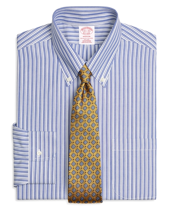 Madison Relaxed-Fit Dress Shirt, Non-Iron Bold Split Stripe Blue