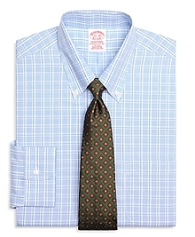 Non-Iron Traditional Fit Alternating Twin Check Dress Shirt
