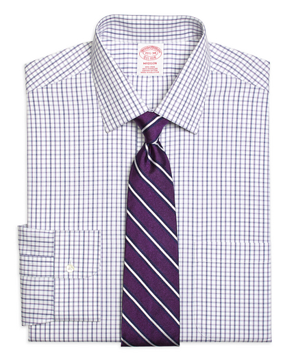 Madison Relaxed-Fit Dress Shirt, Non-Iron Triple Twin Check