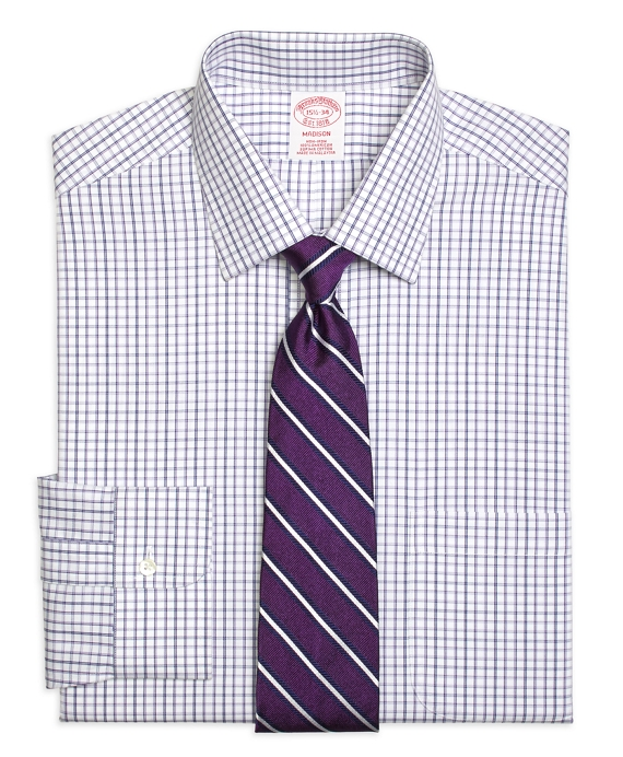 Madison Classic-Fit Dress Shirt, Non-Iron Triple Twin Check Purple
