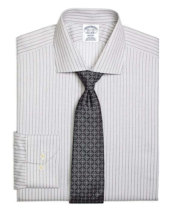 Regent Regular-Fit Dress Shirt, Non-Iron Stripe Grey