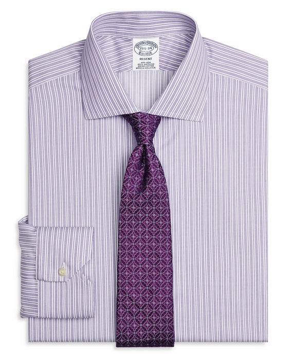 Non-Iron Regent Fit Stripe Dress Shirt Purple