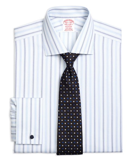 Madison Relaxed-Fit Dress Shirt, Non-Iron Hairline Framed Triple Stripe French Cuff