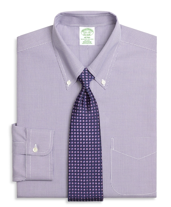 Milano Slim-Fit Dress Shirt, Non-Iron Houndstooth Purple