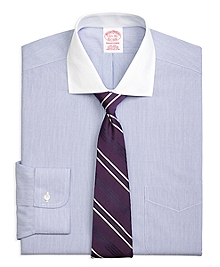 Non-Iron Traditional Fit Contrast English Collar Dress Shirt