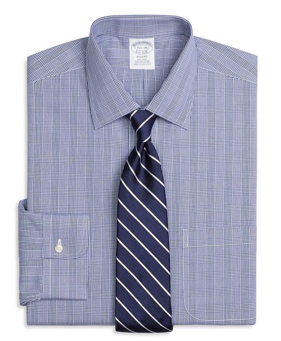 Regent Fitted Dress Shirt, Non-Iron Glen Plaid Blue