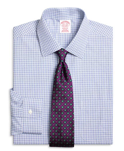 Madison Relaxed-Fit Dress Shirt, Non-Iron Parquet Check