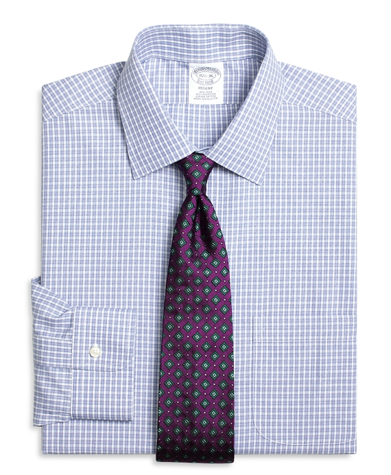 Regent Fitted Dress Shirt, Non-Iron Parquet Check Blue