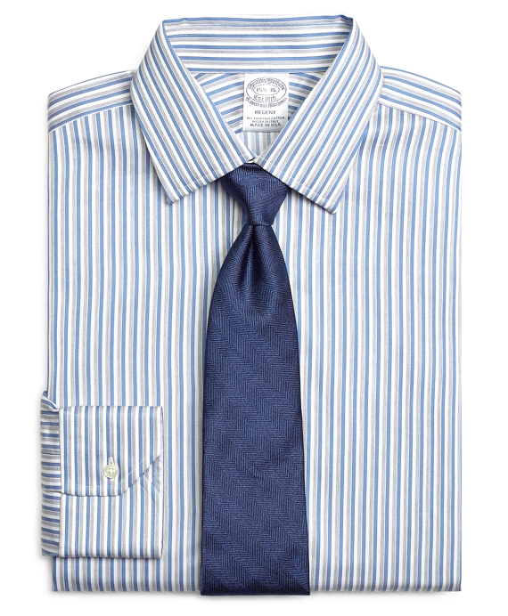 Regent Fitted Dress Shirt, Heathered Twin Stripe Blue-White