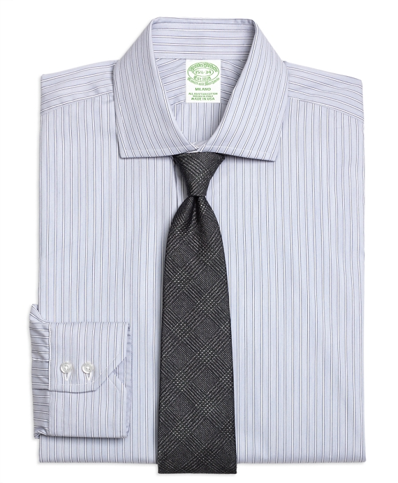 Milano Slim-Fit Dress Shirt, Heathered Frame Stripe Grey