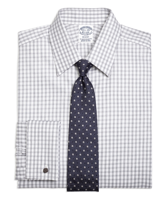 Regent Fitted Dress Shirt, French Cuff Heathered Gingham White-Grey