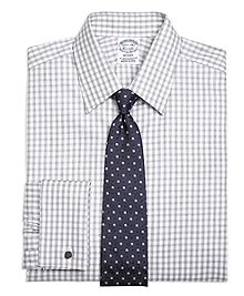 Regent Fit Heathered Gingham French Cuff Dress Shirt