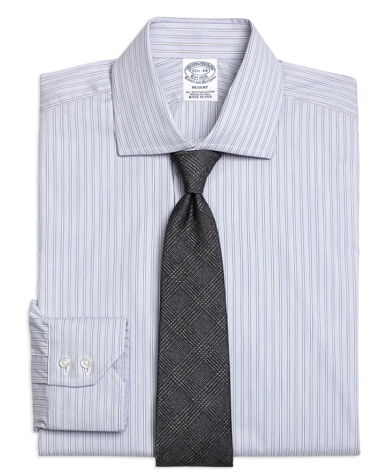 Regent Fitted Dress Shirt, Heathered Frame Stripe Grey