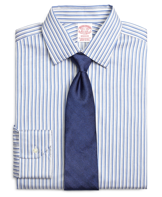 Madison Classic-Fit Dress Shirt, Heathered Twin Stripe Blue-White