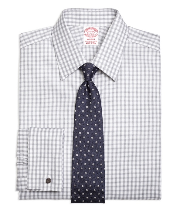 Madison Classic-Fit Dress Shirt, French Cuff Heathered Gingham White-Grey
