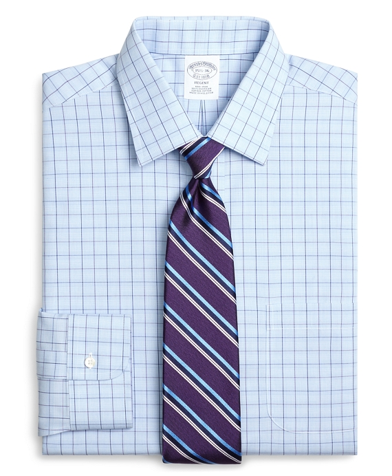 Regent Fitted Dress Shirt, Non-Iron Glen Plaid Overcheck Light Blue
