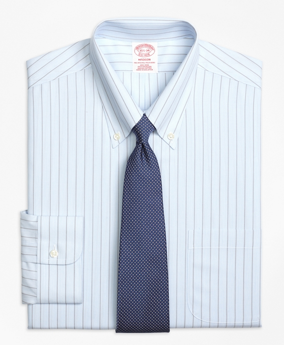 Madison Classic-Fit Dress Shirt, Non-Iron Hairline Bold Stripe Light Blue