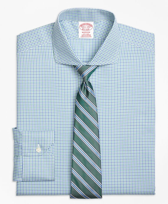 Madison Classic-Fit Dress Shirt, Non-Iron Micro Framed Gingham Blue