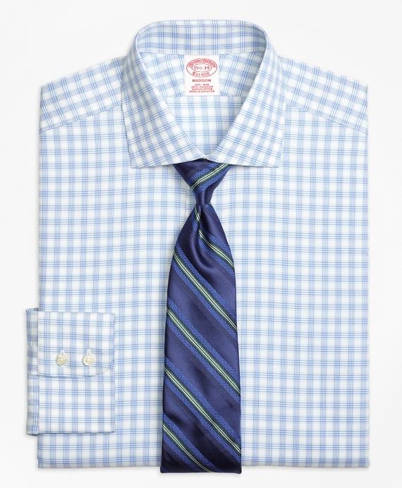 Madison Classic-Fit Dress Shirt, Non-Iron Hairline Framed Check Blue