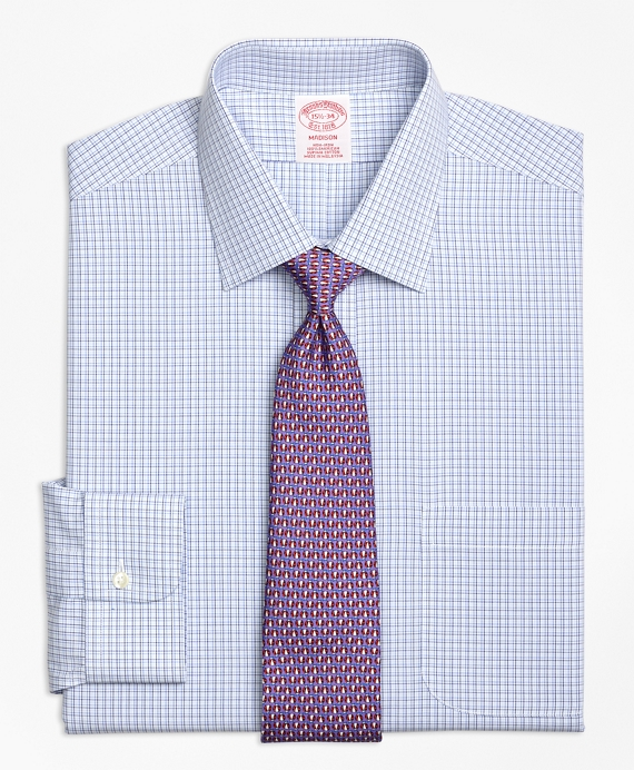 Madison Relaxed-Fit Dress Shirt, Non-Iron Triple Tattersall Blue