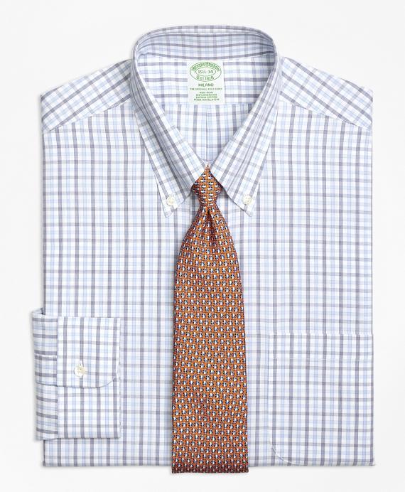Milano Slim-Fit Dress Shirt, Non-Iron Alternating Check Blue