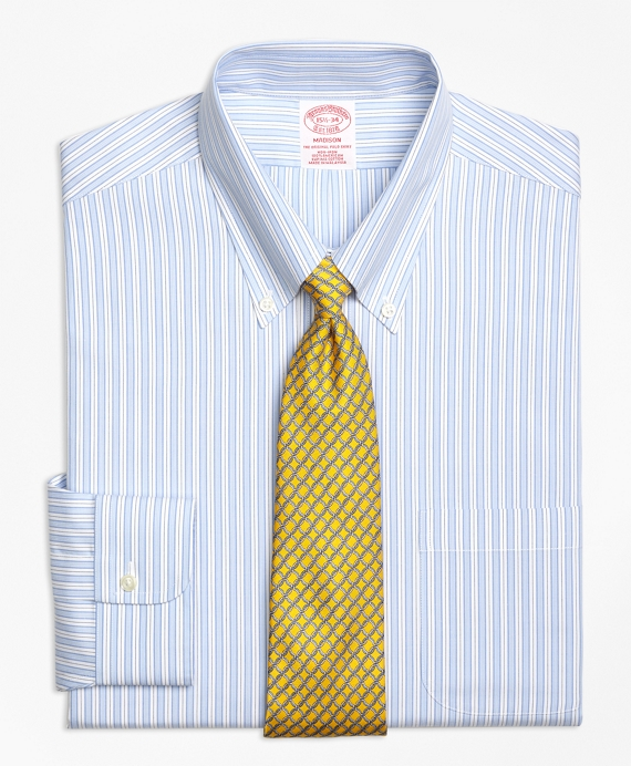 Madison Classic-Fit Dress Shirt, Non-Iron Track Stripe Blue