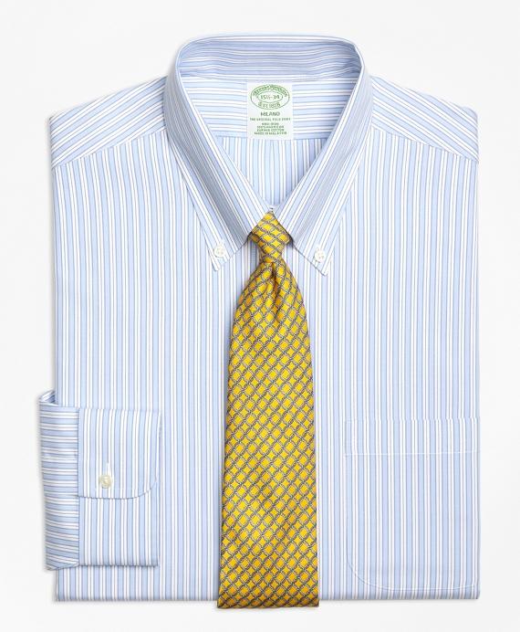 Milano Slim-Fit Dress Shirt, Non-Iron Track Stripe Blue