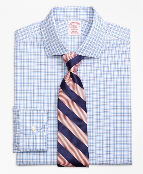 Madison Classic-Fit Dress Shirt, Non-Iron Bold Shadow Check Blue