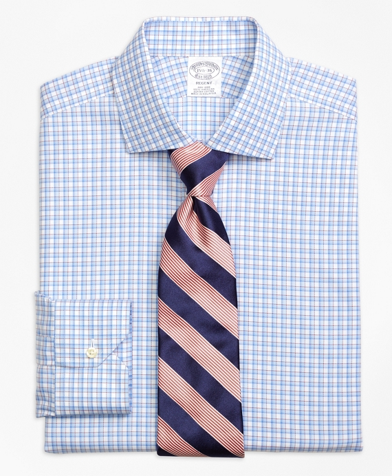 Regent Fitted Dress Shirt, Non-Iron Bold Shadow Check Blue