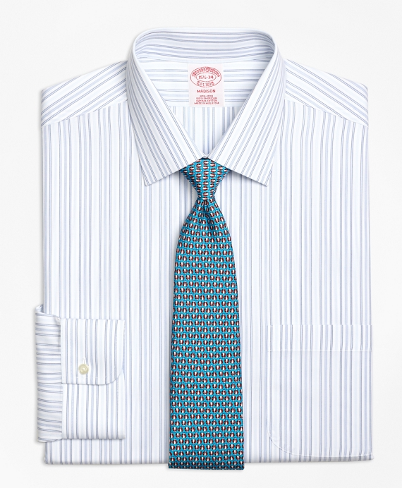 Madison Classic-Fit Dress Shirt, Non-Iron Alternating Hairline Stripe Light Blue