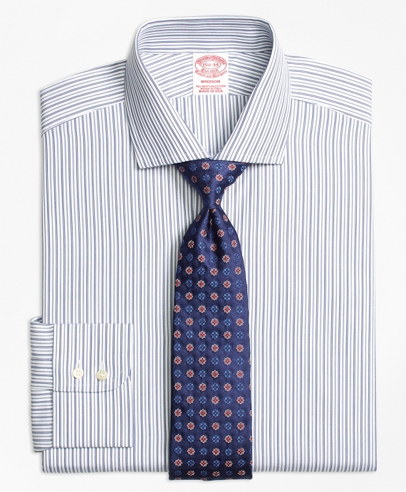 Madison Relaxed-Fit Dress Shirt, Alternating Track Stripe Blue