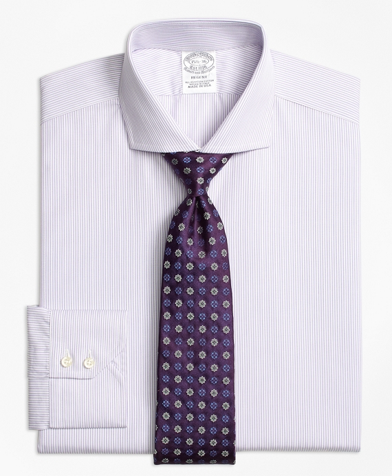 Regent Fitted Dress Shirt, Alternating Framed Stripe Purple