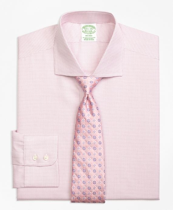 Milano Slim-Fit Dress Shirt, Framed Check Pink