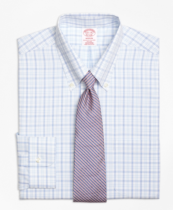 Madison Relaxed-Fit Dress Shirt, Non-Iron Alternating Twin Tattersall Blue