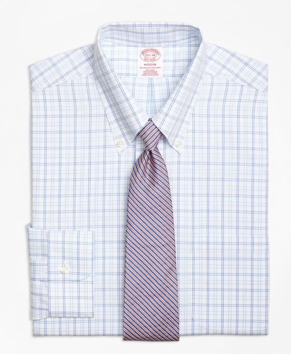 Madison Classic-Fit Dress Shirt, Non-Iron Alternating Twin Tattersall Blue