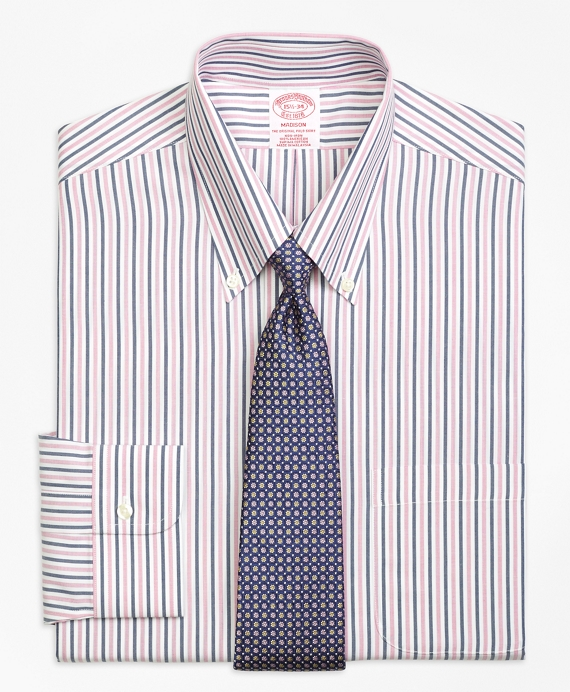 Madison Classic-Fit Dress Shirt, Non-Iron Bold Stripe Pink