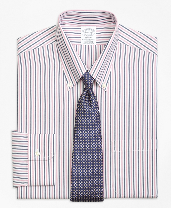 Regent Fitted Dress Shirt, Non-Iron Bold Stripe Pink