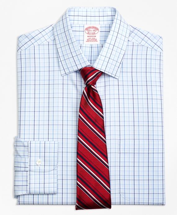 Madison Classic-Fit Dress Shirt, Non-Iron Music Overcheck Blue