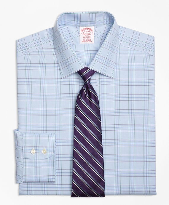 Madison Relaxed-Fit Dress Shirt, Non-Iron Two-Tone Glen Plaid Light Blue