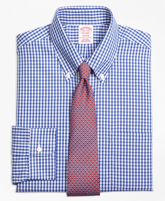 Madison Classic-Fit Dress Shirt, Non-Iron Framed Check Blue